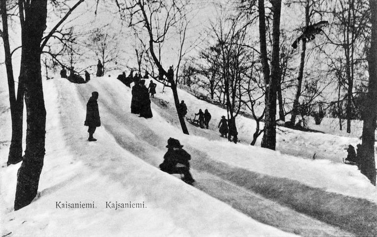 talvi_kelkkamaki kaisaniemessä 1910-luku